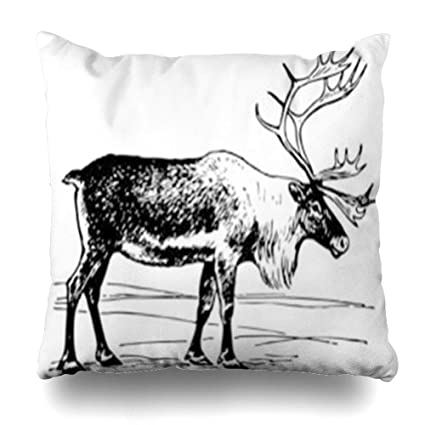 Amazon Com Hugedecor Throw Pillow Cover Santa Caribou Reindeer
