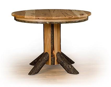 Amazon.com - Rustic Hickory Single Pedestal Round Dining ...