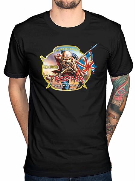 2b03f5717 Official Iron Maiden Trooper Robinsons Beer T-Shirt Rock Metal Hermit  Vortex Transylvania: Amazon.co.uk: Clothing