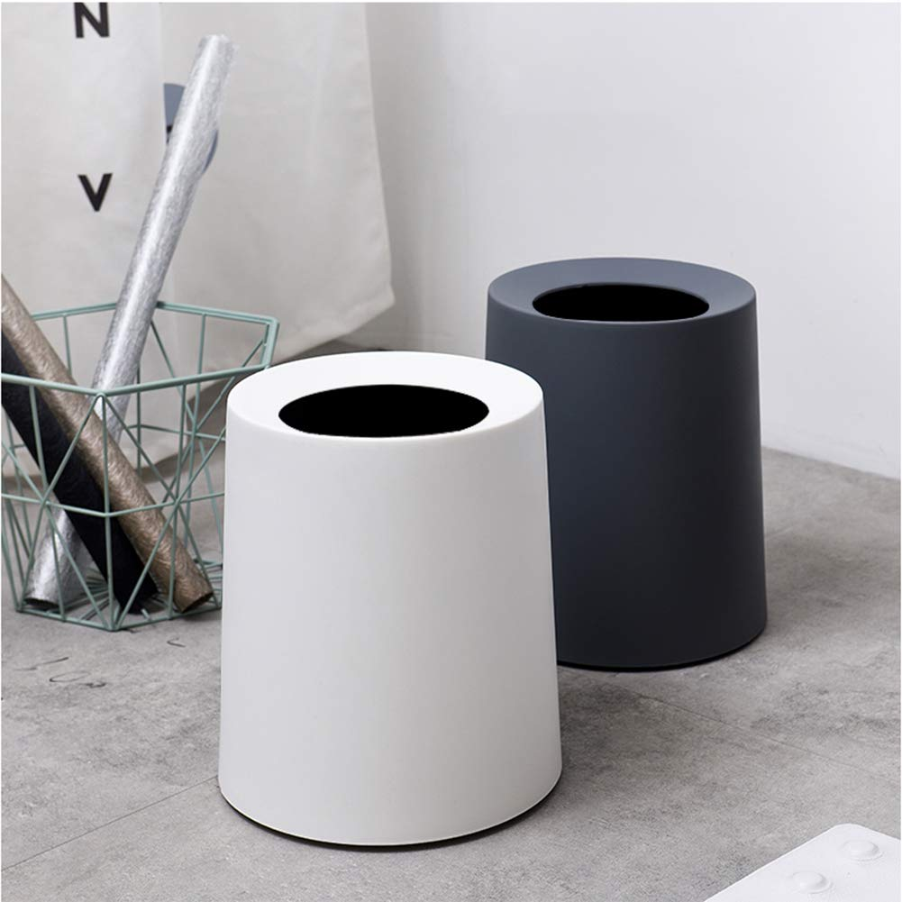 10x9x8inch Round Trash can Plastic Rubbish Container Wastebasket Waste bin Hidden Garbage Bag Removable Liner for Office Bathroom-Black 25.6x22.6x20.8cm