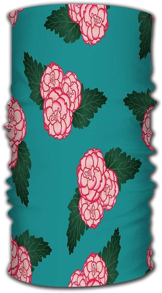 Headband Bandana Balaclava Neck Gaiter Pink Begonia Flower Picotee First Love On Green Elastic Seamless Bandana Scarf Uv Resistence Sport Headwear