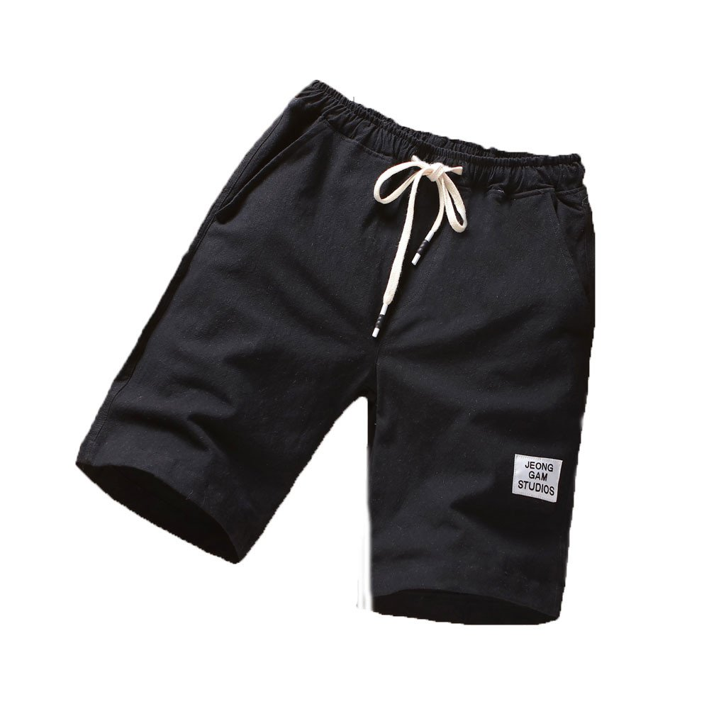 Mens Beach Pants Casual Classic Fit Drawstring Summer Swim Trunks with Elastic Waist and Pockets (XXXXL, Black)