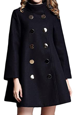 Cruiize Womens Winter Wool Blend Double Breasted Loose Swing Pea Coat