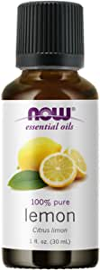 NOW Essential Oils, Lemon Oil, Cheerful Aromatherapy Scent, Cold Pressed, 100% Pure, Vegan, Child Resistant Cap, 1-Ounce