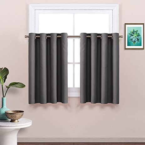 Gallery Of Grey Blackout Window Valance For Kitchen Thermal Insulated  Blackout Grommet Top Tier Curtain For Cafe With Kitchen Power Grommet