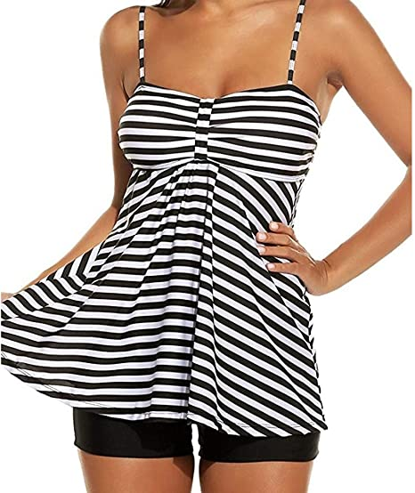 Lmtime Womens Two Piece Bathing Suits S-5XL Push up Stripe Tankini Swimsuits for Women
