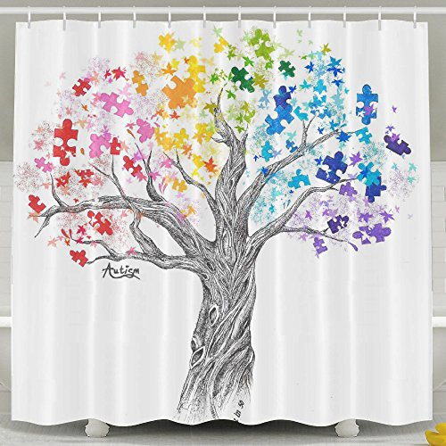 Autism Tree Theme Decoration Shower Curtain For Living Room, Mildew Resistant Waterproof Digital Printing Polyester Shower Curtains With Adjustable Hook,72