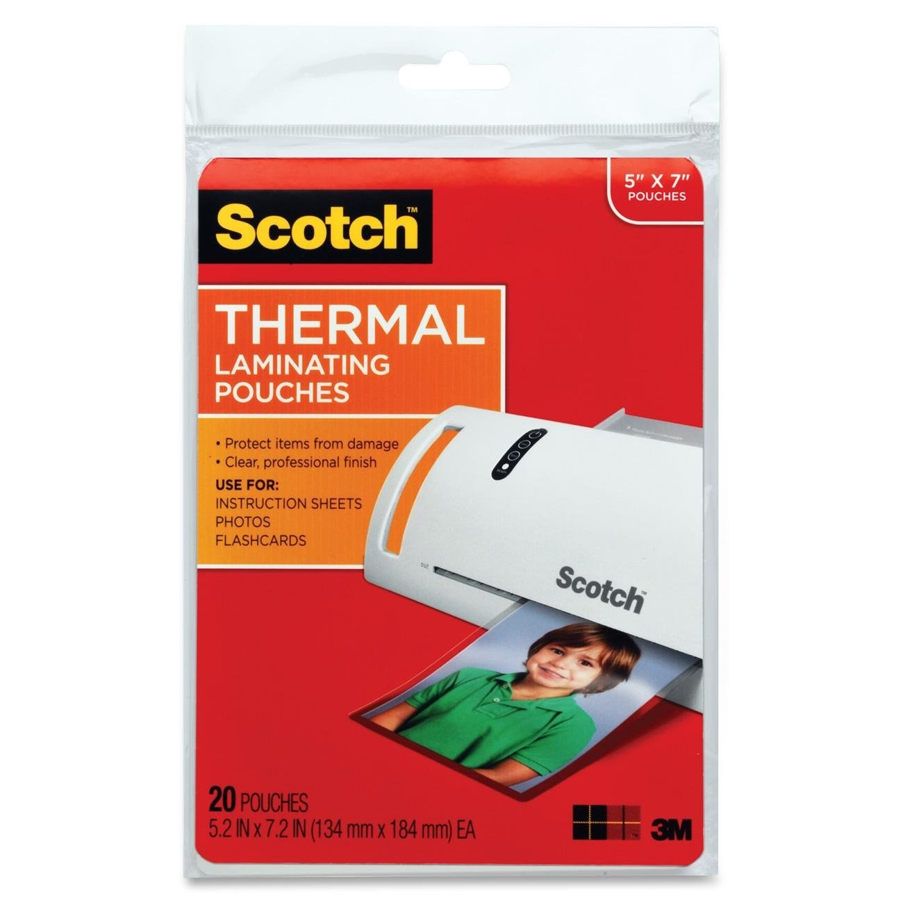 Scotch Thermal Laminating Pouches, 5 x 7-Inches, Photo Size, 100-Pouches (TP5903-100) 3M Office Products