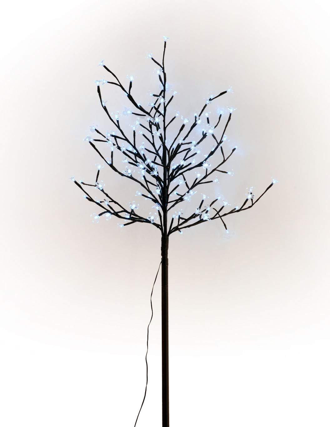 Solar Lichterbaum mit 128 LEDs - Kirschblüten Baum kaltweiß - Garten Deko Leuchtbaum Außen Spetebo
