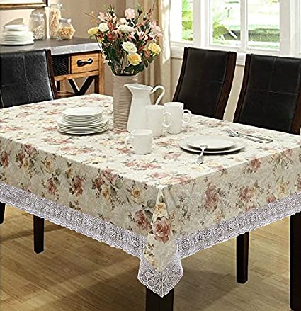 Delicieux Eforcurtain Home Fashion Round Table Cover, Waterproof Spring Floral  Tablecloth Flannel Back PVC, Beige