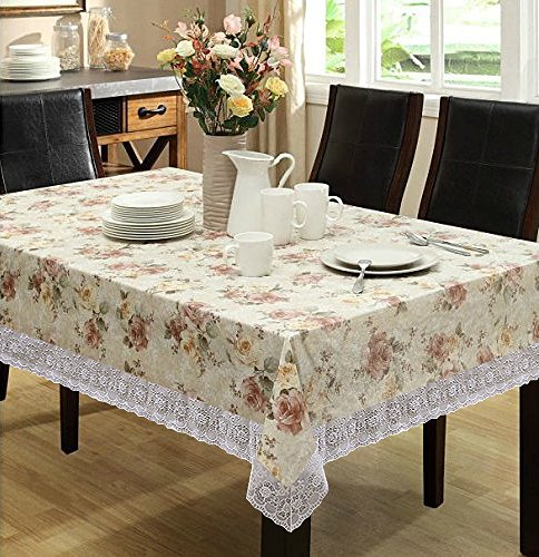 Eforcurtain Home Fashion Round Table Cover, Waterproof Spring Floral Tablecloth Flannel Back PVC, Beige, 54-inch Round Tablecloth with Lace ()