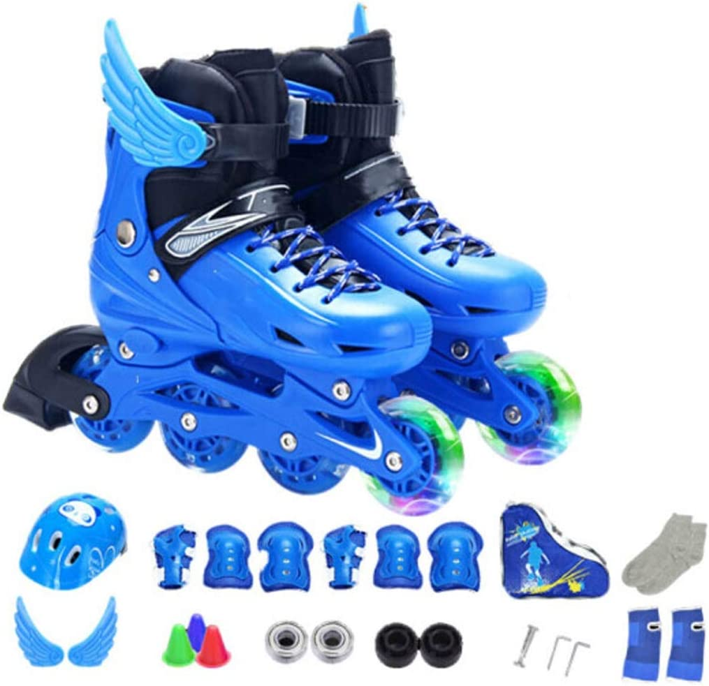 ローラーブレード、ローラースケート、ローラースケート、インラインスケート、子供、調節可能、クラシックブルー、ピンク、注目を集める、初心者スケート、簡単に着用、楽しいスケート、屋内/屋外のローラースケート、誕生日、休日、すべてのものにぴったりのギフトパッケージ若者が含まれています:ローラースケート、ヘルメット、靴収納袋、保護具 (Color : 青, Size : 3-5.5)