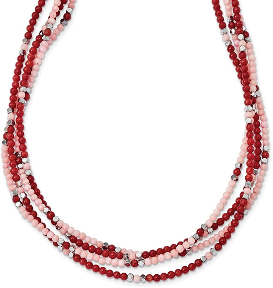 Necklace Jewelry Necklaces Natural Stone Sterling Silver Hematite//Red and Peach Coral 3-Strand with 2in ext