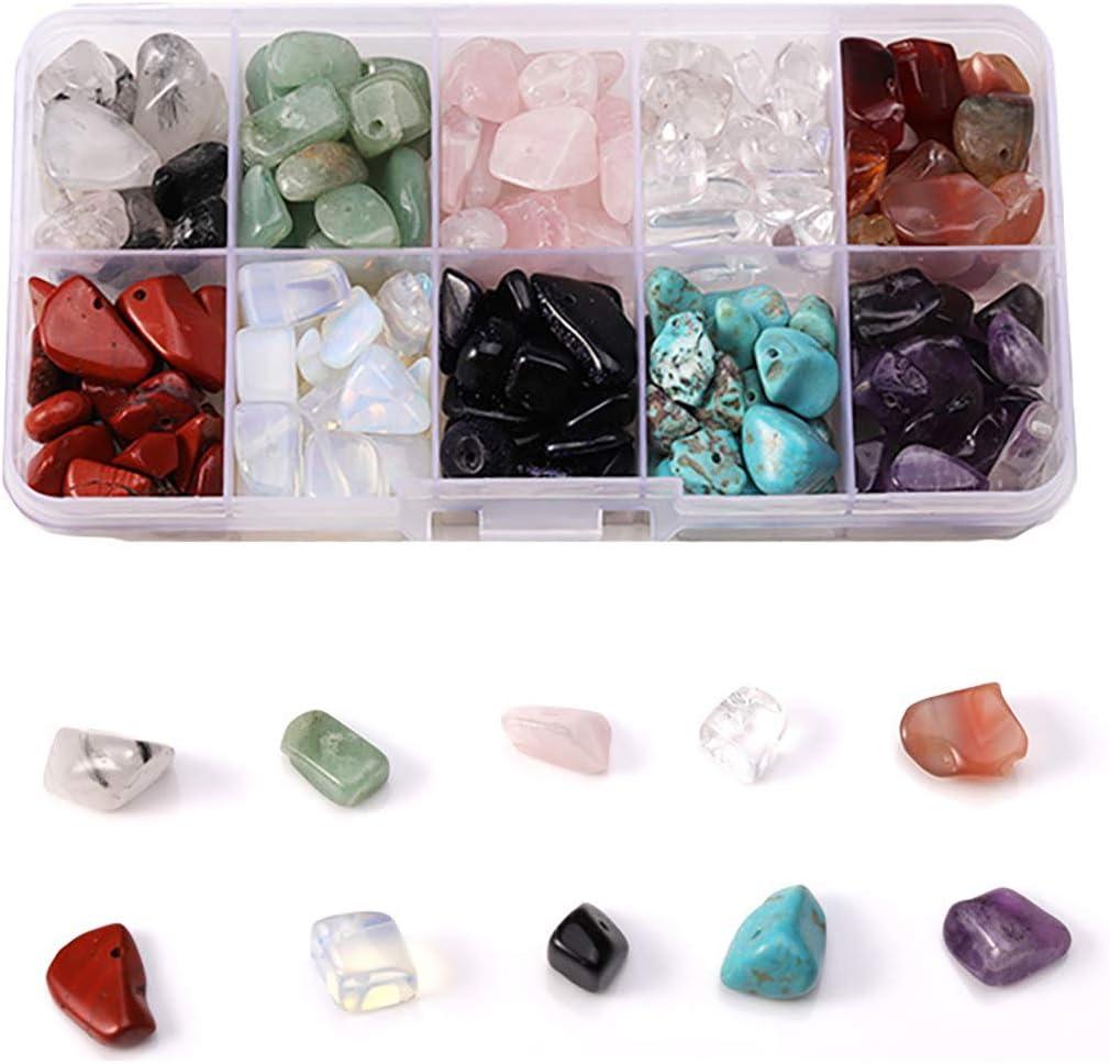 10 cuentas de piedras preciosas de diferentes tipos, piedras naturales de cristal de cuarzo con forma irregular, cuentas sueltas de cristal aplastado para hacer collares y pulseras
