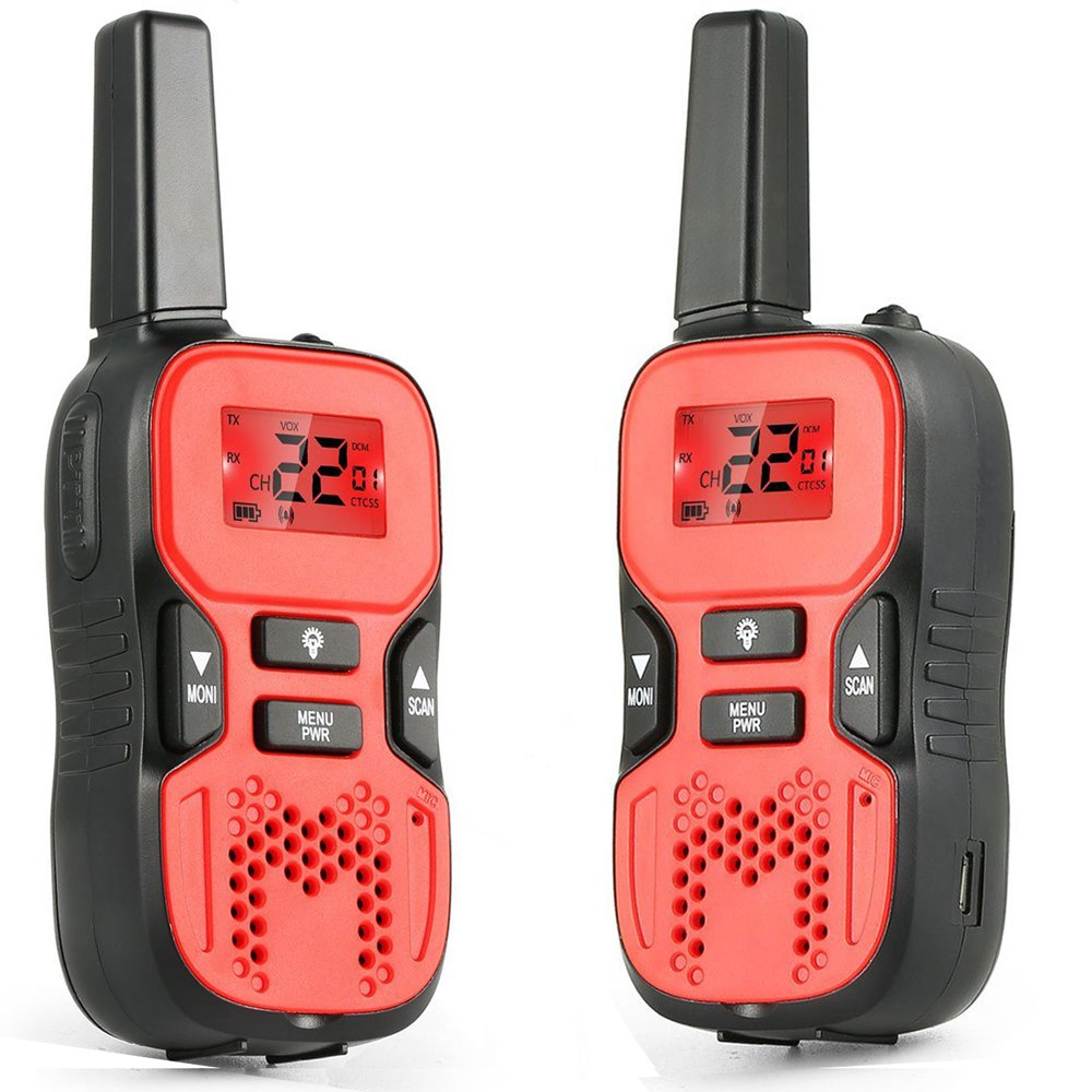 R8 Red Pack of 2 Jusinhel Mini Kids Walkie Talkies Children 22 Channel Two Way Radios Handheld Interphone Toy Boys Girls Outdoor Camping Hiking
