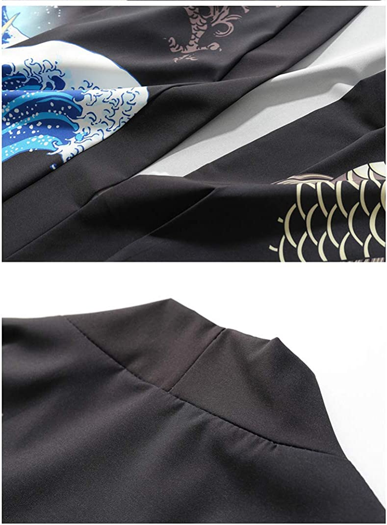 Siehin Herren Fr/ühling-Sommer Casual Japan Happi Kimono Haori Jacke /Übergangsjacke M/äntel Kranichdruck Poncho Kap Mantel Wolljacke