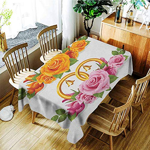 (XXANS Waterproof Table Cover,Orange and Pink,Bunch of Roses and Rings with Bells Fresh Petals Green Leaves Waterdrips,Party Decorations Table Cover Cloth,W54x90L Multicolor)