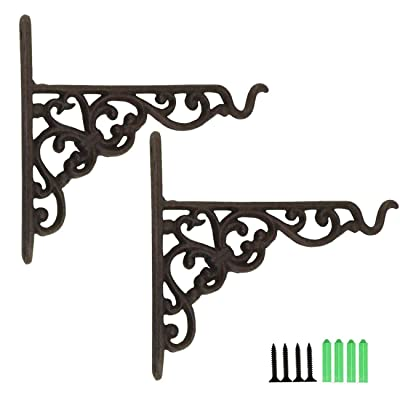 TinaWood 2PCS Cast Iron Hanging Basket Vintage Wall Hook with Screws Heavy Duty Decorative Plant Hanger for Bird Feeders, Planters, Lanterns, Wind Chimes, Wall Brackets(2) : Garden & Outdoor