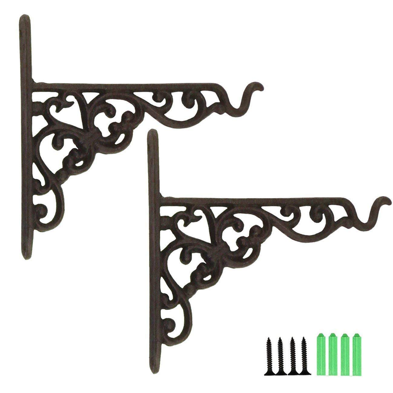 TinaWood 2PCS 6.9'' x 8.1'' Cast Iron Hanging Basket Vintage Wall Hook with Screws/Decorative Plant Hanger For Bird Feeders, Planters, Lanterns, Wind Chimes, As Wall Brackets and More! (2) by TinaWood
