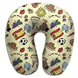 JAWANNA Doodles Symbols Pattern Of Spain U Neck Pillow, Comfortable Travel Pillow, U-shaped Design Conforms To The Head And Neck, Is Easy To Fit In A Backpack Or Bag