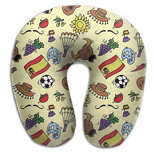 Create Magic - Doodles Symbols Pattern Of Spain U-Shaped Travel Pillow, A Memory Foam Pillow That Provides Relief And Support For Travel, Office, Home, Neck Pain, And Many More by Create Magic