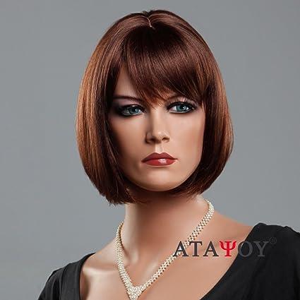 atayou® 2018 calidad mejor oscuro marrón peluca de pelo corto – recto sintético Pelucas Peluca