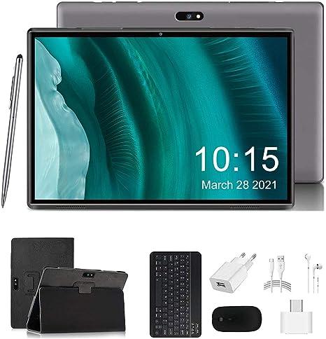 Tablet 10 Pulgadas 4G LTE WiFi 3GB RAM 32GB ROM Tableta Android 9.0 Certificado por Google GMS Quad-Core 1.3Ghz 8+5MP 8000mAh Batería con Teclado y ...