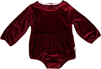 58b611ad93e Imcute Baby Girls Outfit Casual Wine Velvet Long Sleeve Romper Playsuit  Sunsuit