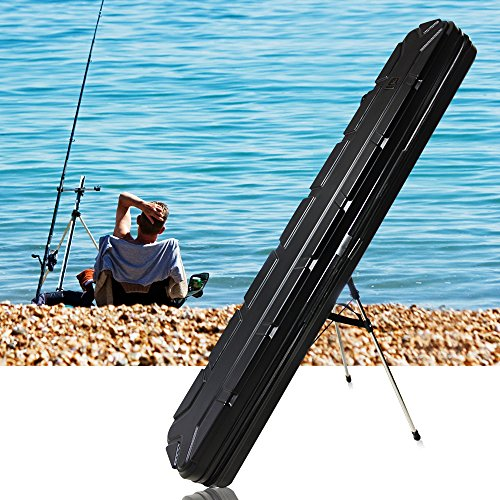 coolnice Fishing Rod Carrier Portable Fishing Pole Organizer Bag Fishing Gear Carry Hard Case Rod & Reel Travel Storage - Pressure Resistant Waterproof & Durable, Protective ABS Material - Black