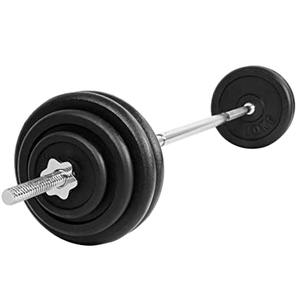 Physionics - Juego de pesas 60 kg con barra de pesas pesos: Amazon ...