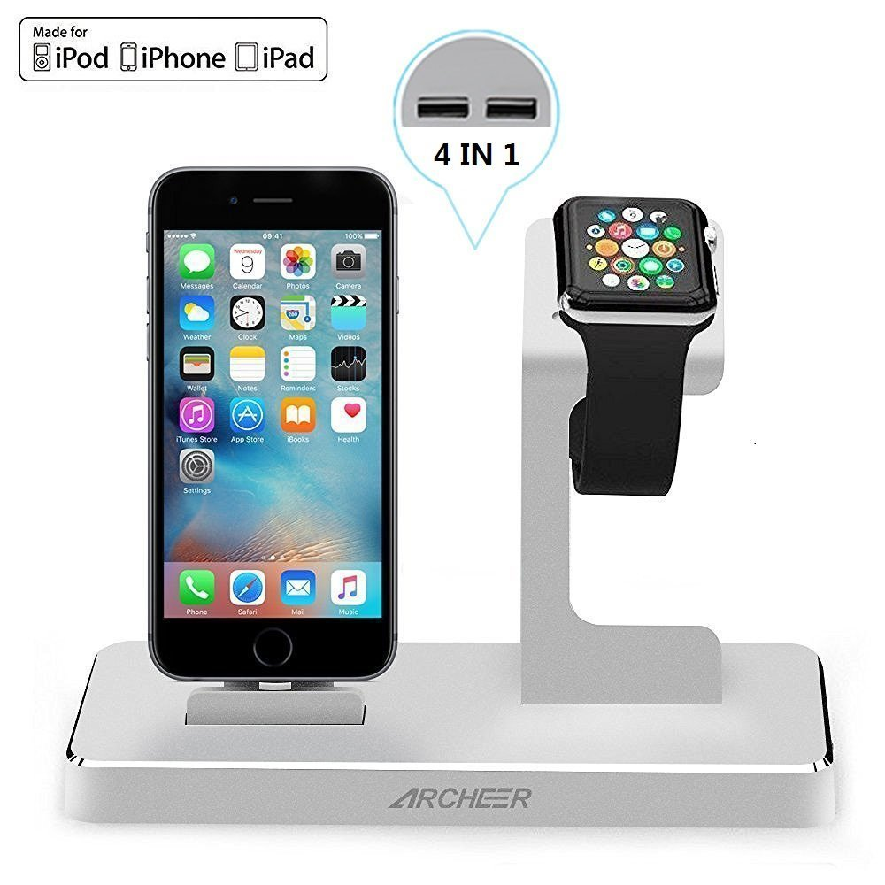 ARCHEER 4 in 1 Apple Watch Stand iPhone Charging Dock with 8 Pin Lightning Adapter, Apple Charging Station with 2x2.4A USB Output for Apple Watch iWatch iPhone iPad iPod and Other Tablets (Silver)