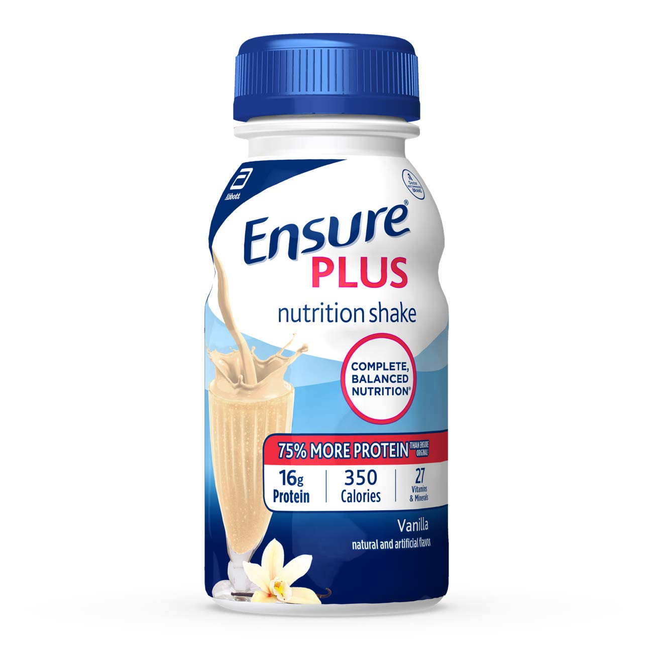 Ensure Plus Nutrition Shake With 16 Grams of High-Quality Protein, Meal Replacement Shakes, Vanilla, 8 fl oz, 6 Count