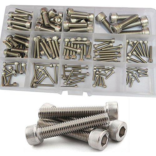 Hex Socket Head Cap Screw Metric Thread Hexagon Allen Machine Bolt M2.5 M3 M4 M5 M6 M8 Metal Standard Fastener Hardware Assortment Kit Set 135Pcs 304 Stainless Steel M2.5-M8