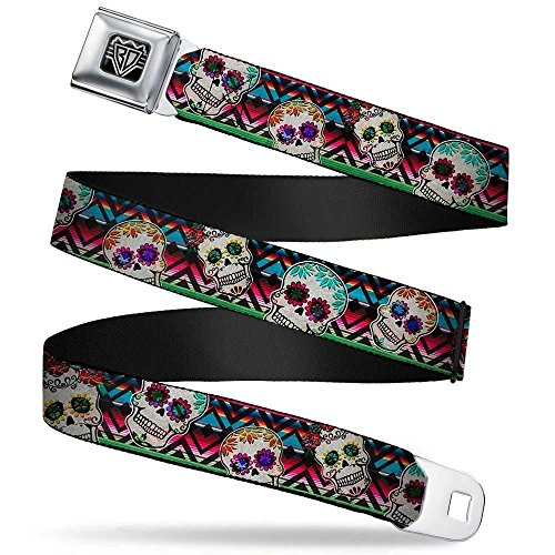 Buckle-Down Unisex-Adult's Seatbelt Belt Sugar Skulls XL, Zarape Multi Color, 1.5