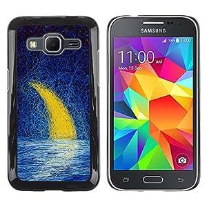 Paccase / Dura PC Caso Funda Carcasa de Protección para - Moon Crescent Painting Oil Sea Night Sky - Samsung Galaxy Core Prime SM-G360