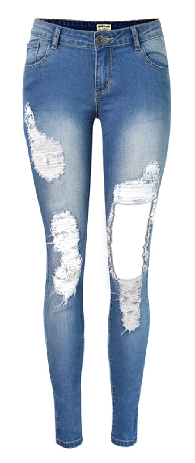Allonly Women's Fashion Destroyed Skinny Fit Stretch Low Rise Ripped Jeans Pencil Pants With Big Hole