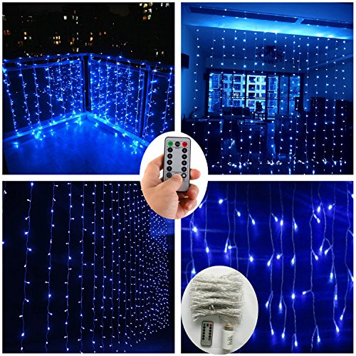 Blue Curtain String Lights with Remote,Battery Operated,300 LED 9.8ft Icicle Window Background Fairy Lights Decoration Icicle Twinkle Lights for Weddings Party Bedroom Kitchen Living Room Patio Garden