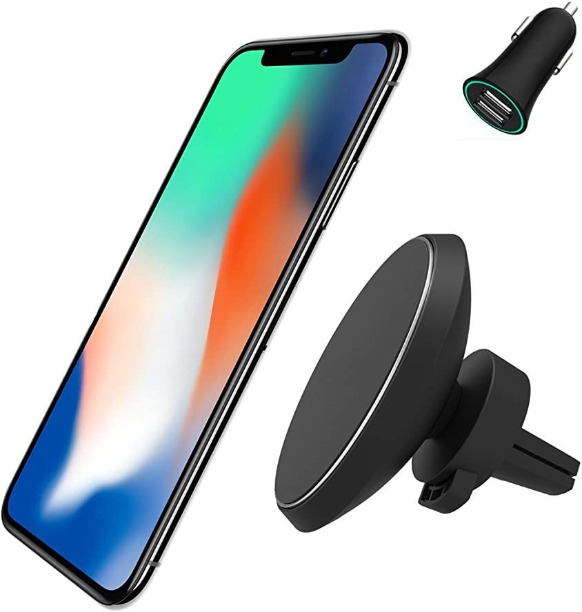 Quarble Air Vent Car Mount Compatible with Mag Safe Charger Black-Silver
