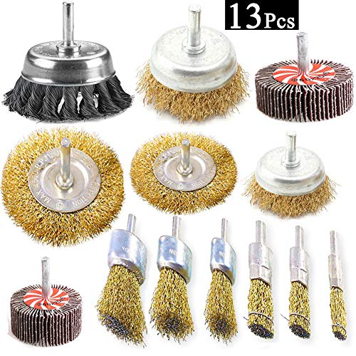 Carbon Crimped Wire - Esoca 13Pcs Wire Wheel Brush Knotted & Crimped Wire Cup Wheels Brush & Carbon Knot Wire Drill Brush Set with 1/4-Inch Shank For Rust Removal, Corrosion and Scrub Surfaces