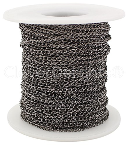 CleverDelights Curb Chain Spool - 2x3mm Link - Gunmetal Color - 30 Feet - Bulk Jewelry Chain (Metal Curb Chain)