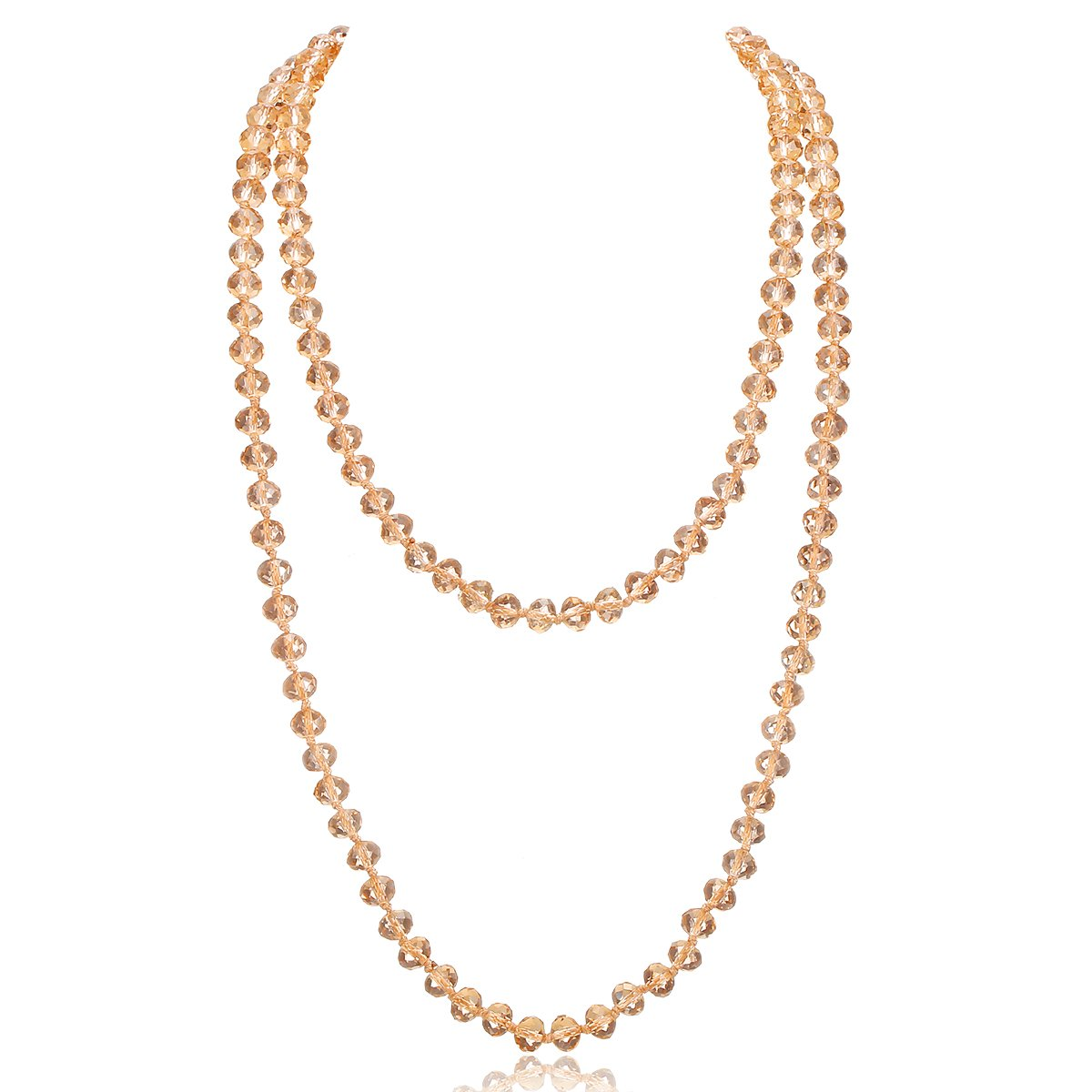 Long Crystal Wrap Necklace Women Beaded Knotted Jewelry 48'' Champagne Bling Beads
