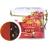 Avataa Strawberry Black Tea: High Grown Ceylon Tea with Dehydrated and Coarse Cut Strawberry Fruit and 100% Natural Strawberry Oil (50 Gram/25 Cups)