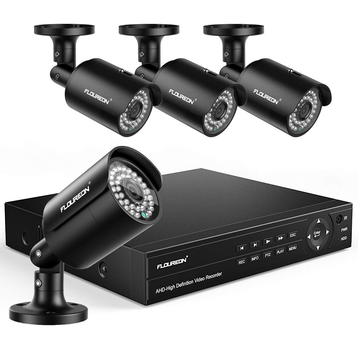 FLOUREON 8CH Security Camera System True HD 1080P 6-in-1 Video DVR Recorder with 4X HD 1080P XVI Indoor Outdoor Weatherproof CCTV Cameras by floureon