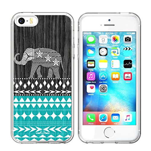 Elephant Case for iPhone SE/5S/5 Cases Elephant,Jolook 360 Full Body Slim TPU Protection Case with Elephant Design for iPhone SE/5S/5 - Wood Elephant Aztec (Iphone 5s Case Elephant Wood)