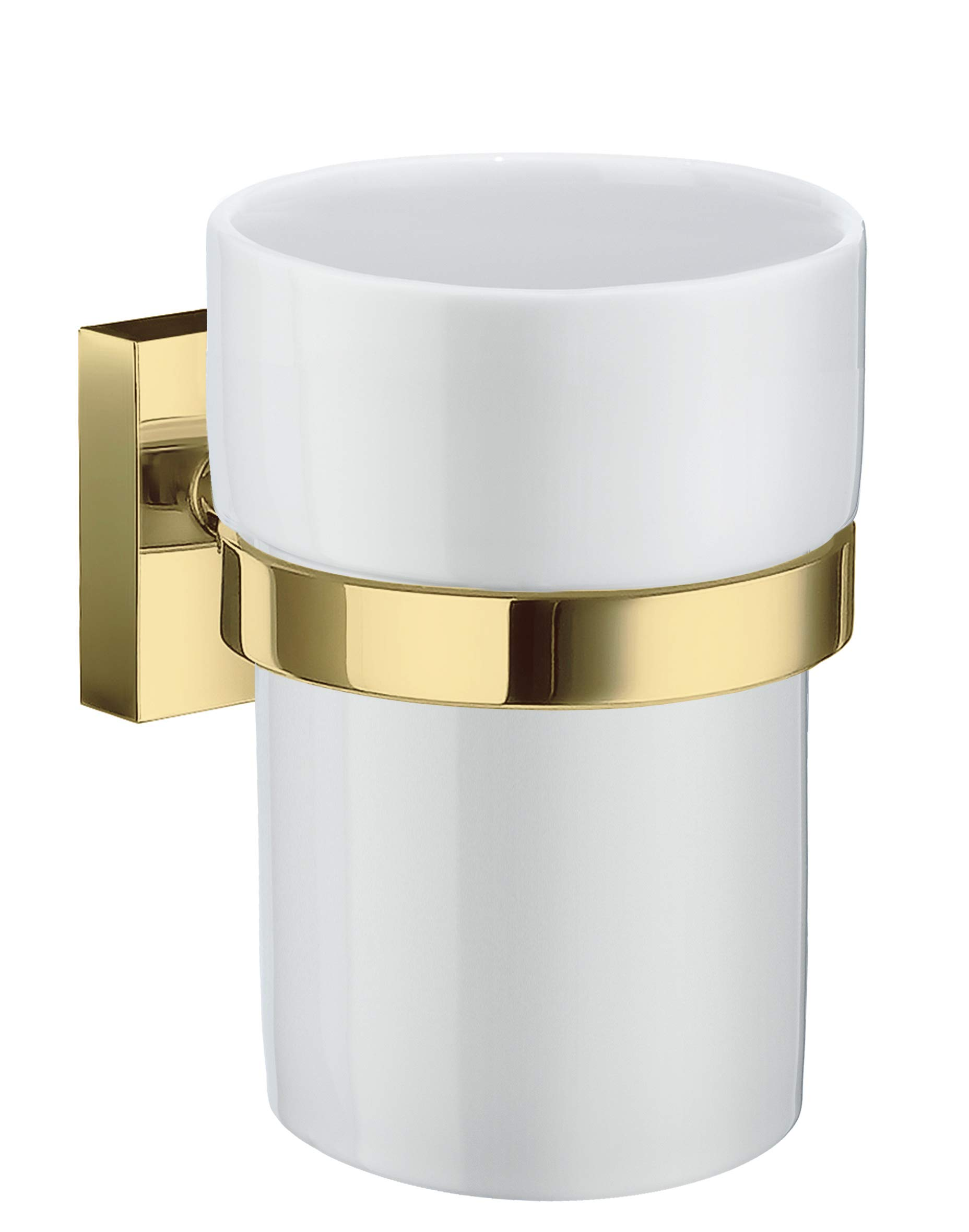 Smedbo House Holder with Tumbler RV343P Polished Brass .Include Glue.Fixing Without Drilling
