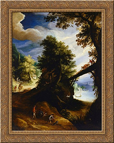 A wooded landscape with a bridge and sportsmen at the edge of the river 24x20 Gold Ornate Wood Framed Canvas Art by Paul Bril