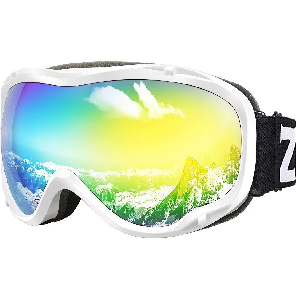 Zionor Lagopus Ski Snowboard Goggles UV Protection Anti Fog Snow Goggles for Men Women Youth VLT 13.7% White Frame Mirrored Gold Lens by Zionor