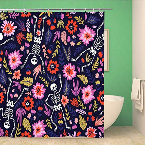 Awowee Bathroom Shower Curtain Pattern Dancing Skeletons in The Floral Garden Holiday Halloween Polyester Fabric 60x72 inches Waterproof Bath Curtain Set with Hooks]()
