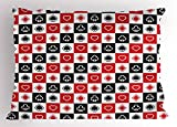 Ambesonne Casino Pillow Sham, Card Suits Advertising Leisure Luck Gaming Entertainment Repeat Illustration, Decorative Standard King Size Printed Pillowcase, 36 X 20 inches, Red Black White