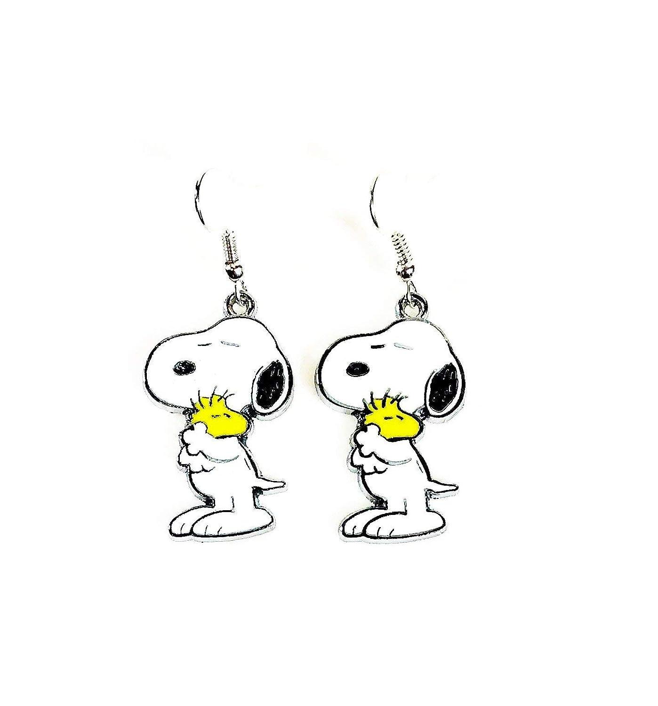 2 Pairs of Peanuts Inspired Snoopy Hugs Woodstock//Red Heart Character Metal Drop Dangle Earrings W//Gift Box